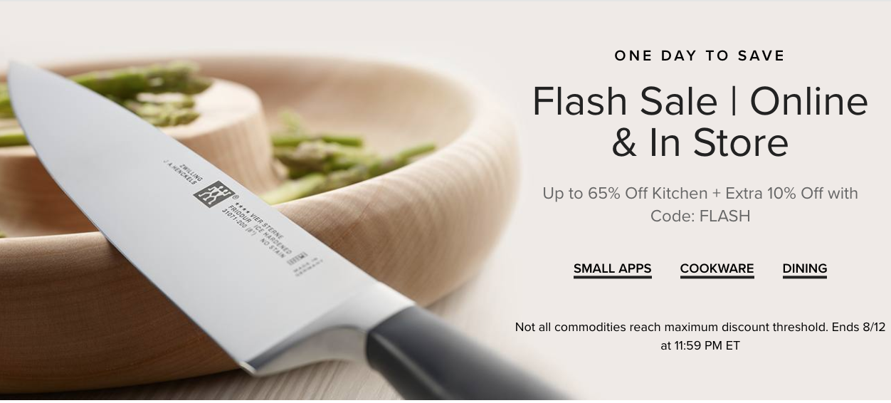Hudson's Bay Canada Flash Sale: Today, Save up to 65% off Kitchen + Extra 10% off with Coupon Code!