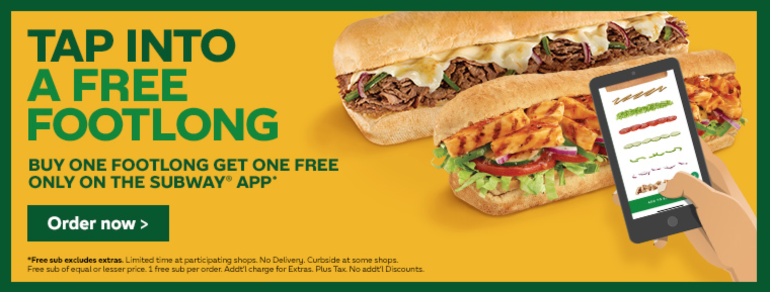 Subway Promo Free Footlong With Purchase Canadian Freebies Coupons Deals Bargains Flyers Contests Canada
