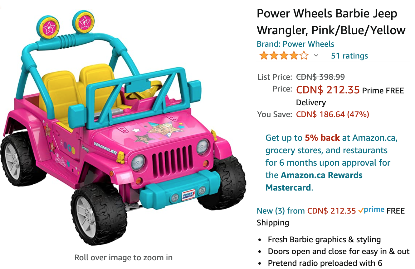Amazon Canada Deals: Save 47% on Power Wheels Barbie Jeep Wrangler + 60% on Anker Powerline+ Lightning Cable 6ft Fast Charging Cable + More Offers