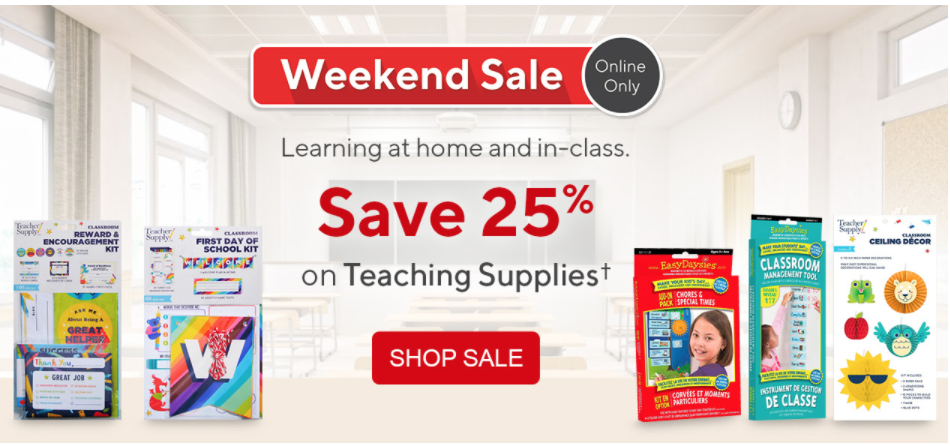 Staples Canada Weekend Online Sale: Save 25% on Teaching Supplies + FREE Shipping