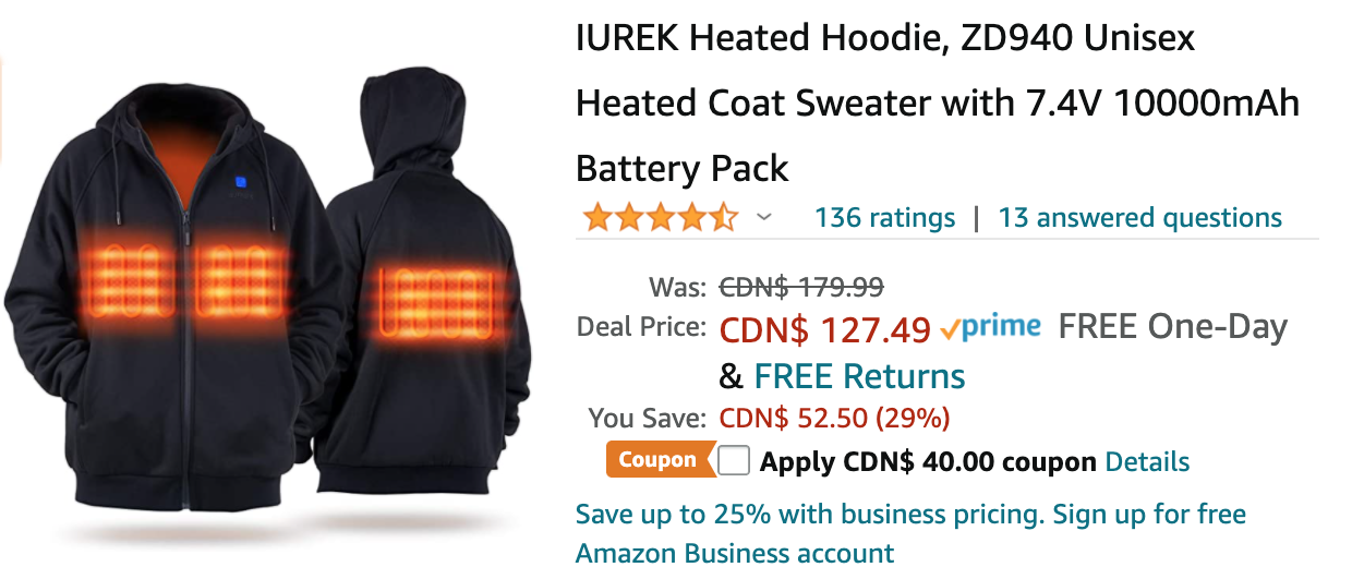 Amazon Canada Deals: Save 51% on Heated Hoodie with Coupon + 24% on Outdoor Wireless Security Camera + 21% on Karaoke Microphone for Kids + More Offers