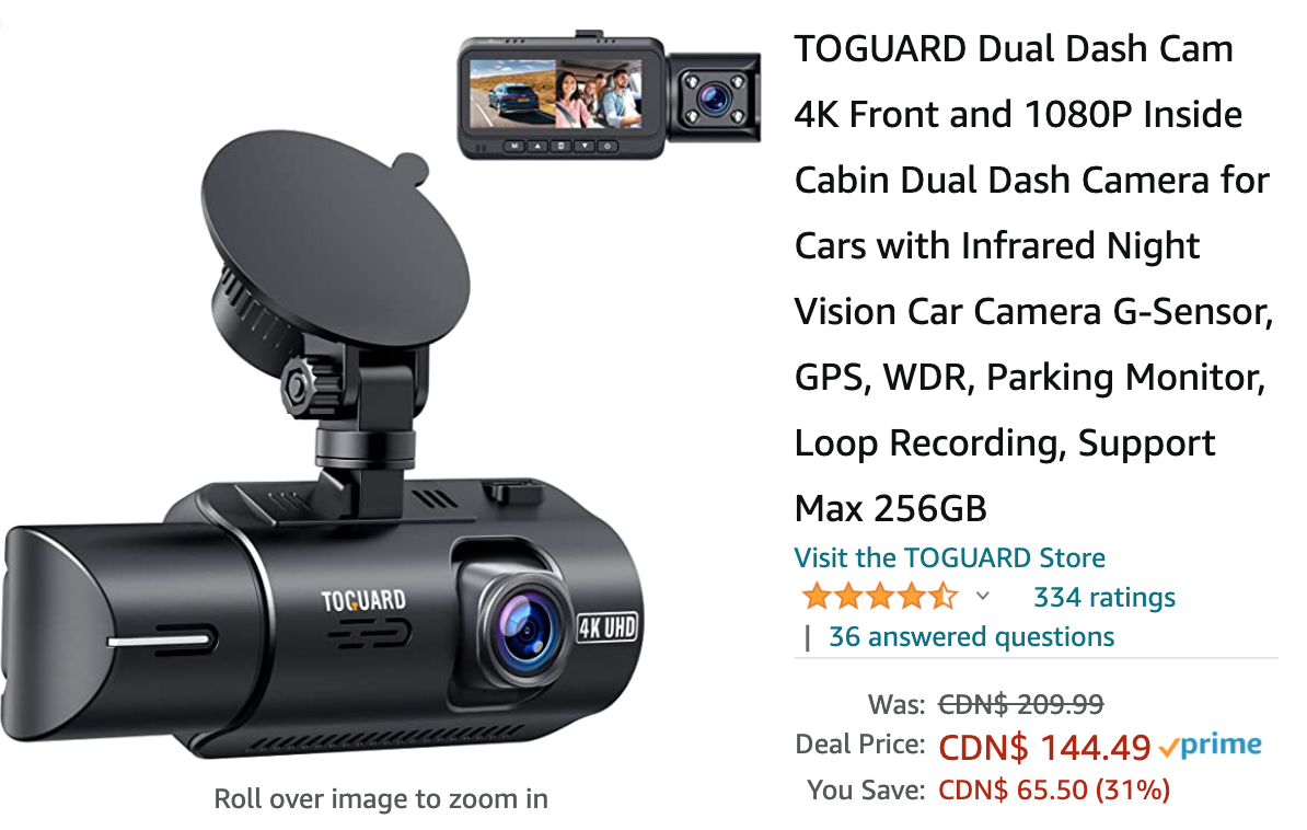 Amazon Canada Deals: Save 31% of Dual Dash Cam + 24% on Stand Mixer 6-Speed  + More Offers